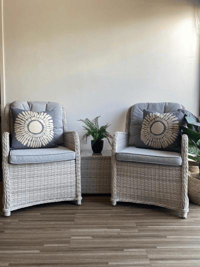 Cayman 3pc Occasional Set in Surf Mist Wicker and Dune Spun Poly Cushions