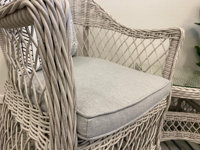 Hamptons Dining Chair 3pc Occasional in Surfmist Wicker and Dune Spunpoly Cushions