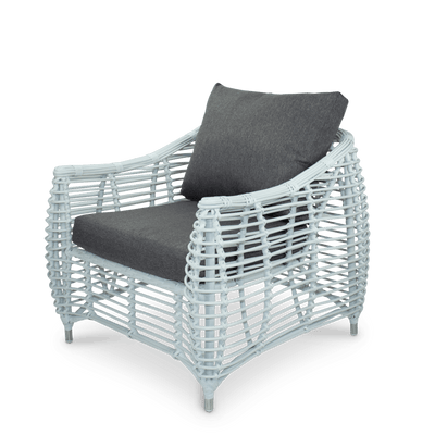 Barbados Armchair in Arctic White Wicker and Pebble Olefin Cushions