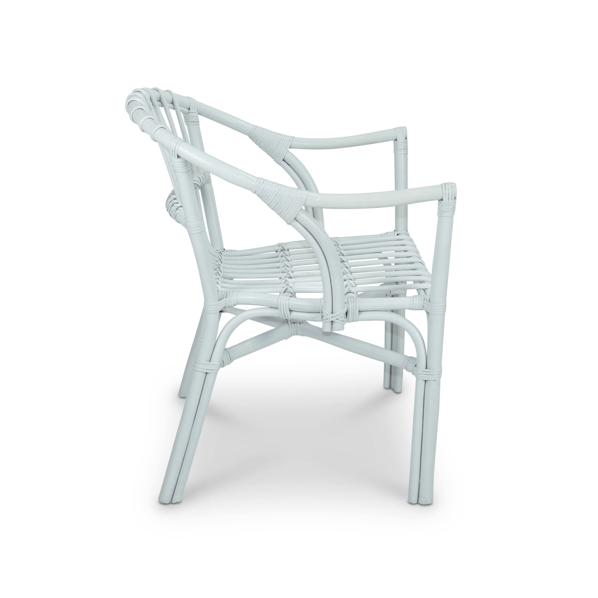 Java Dining Chair in White Rattan