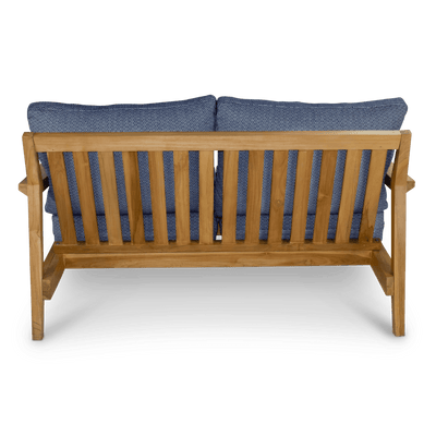 Riviera 2 Seater in Premium Natural Teak and Navy Check Sunproof All Weather Fabric