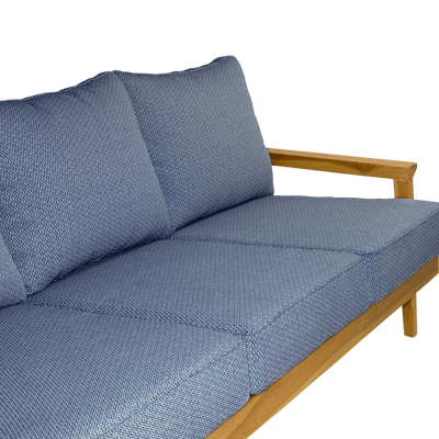 Riviera 3 Seater in Premium Natural Teak and Navy Check Sunproof All Weather Fabric