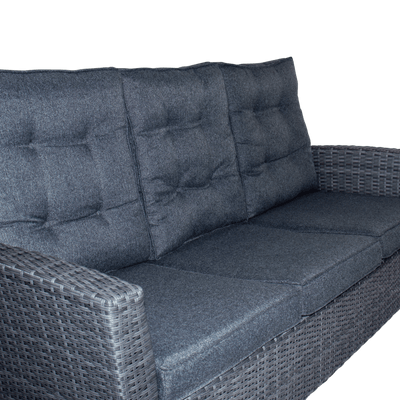Newport 3 Seater in Monument Weave and Charcoal Spun Poly Cushions