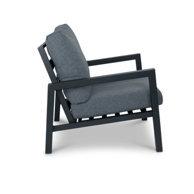 San Sebastian Armchair in Gunmetal with Platinum Olefin Cushions