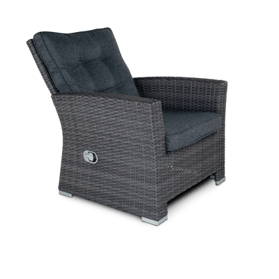 Newport Recliner Armchair in Monument Weave and Charcoal Spun Poly Cushions