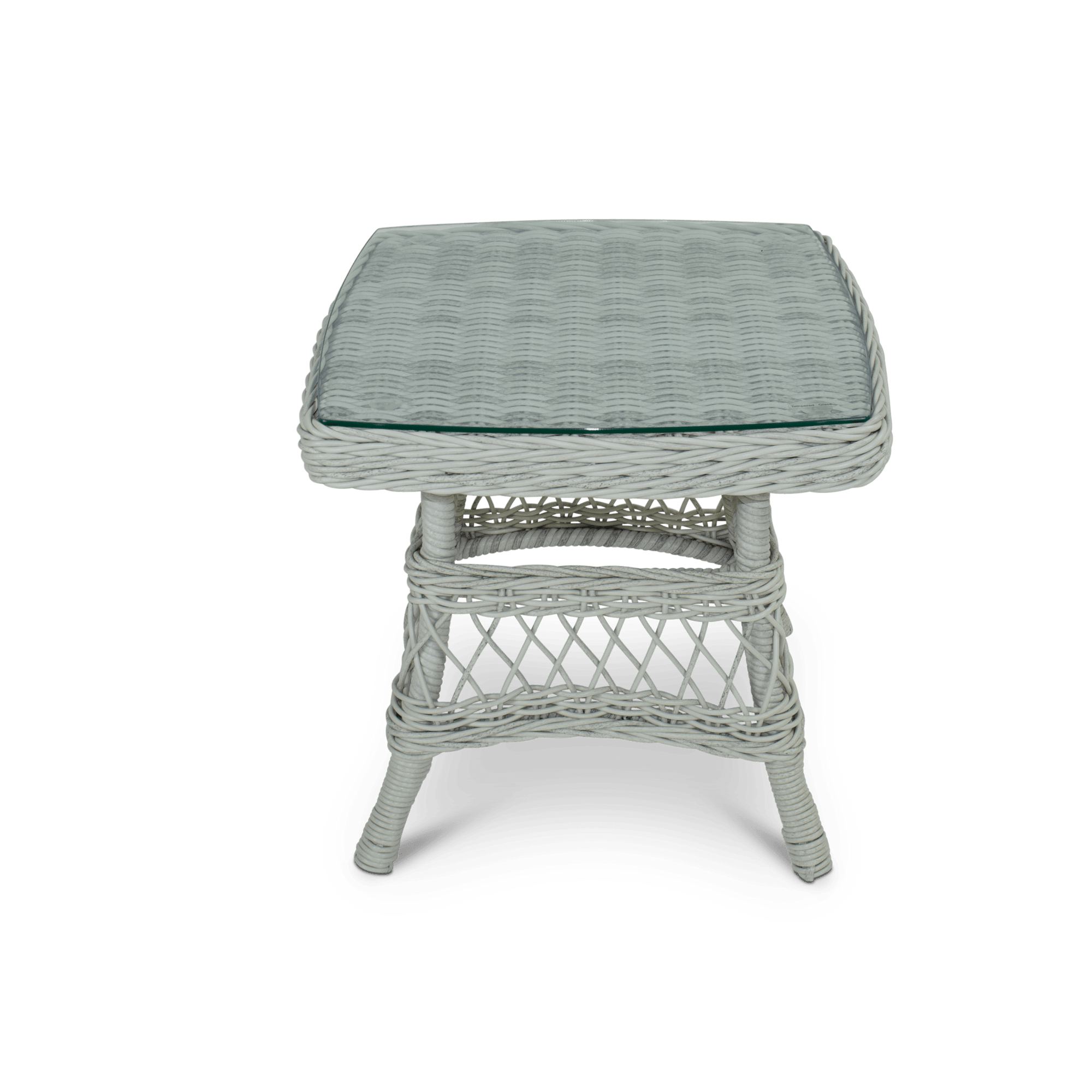 Hamptons Side Table in Surfmist Wicker with Glass Top