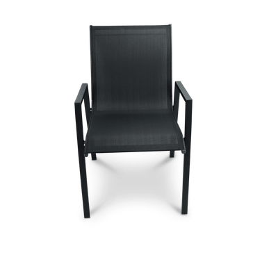 Morocco Dining Chair in Black Aluminium with Graphite Textiline