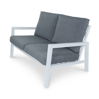 San Sebastian 2 Seater with 2 x Armchairs & Coffee Table in Arctic White and Platinum Olefin Cushions