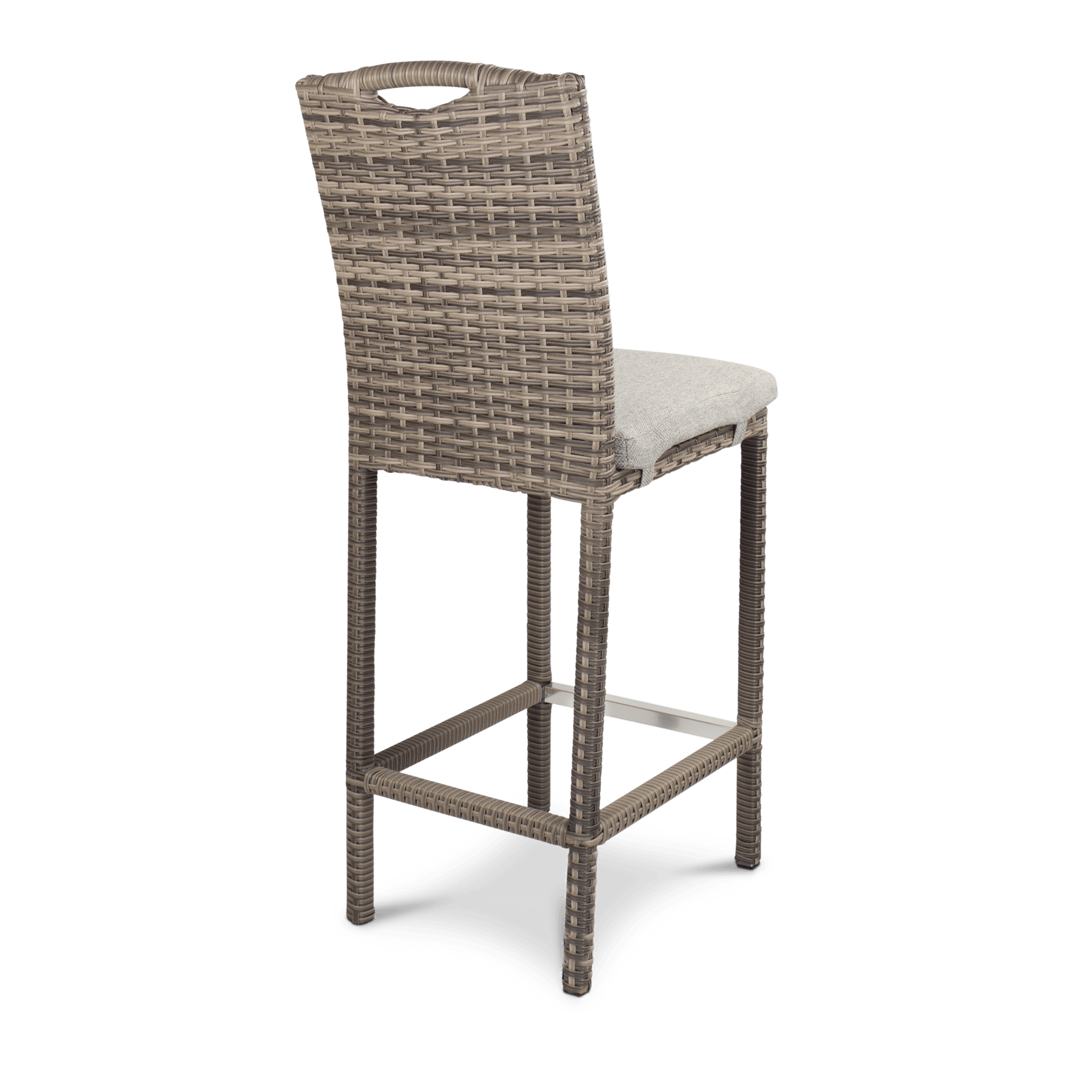 Havana Bar Stool in Mocha Weave with Latte Spun Poly Cushions