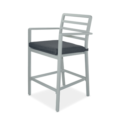 Messina Bar Stool in Arctic White Aluminium and Storm Olefin Cushions