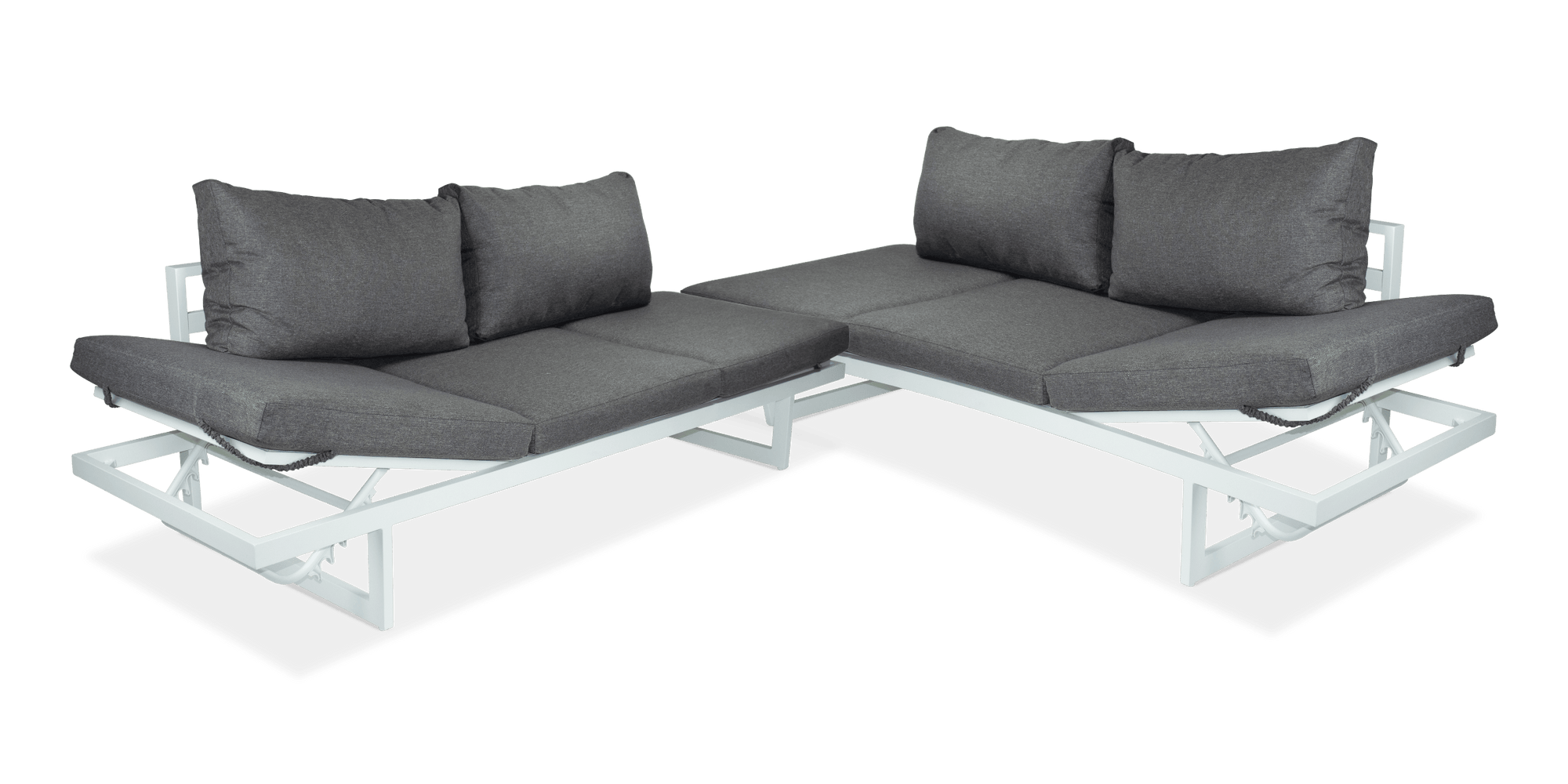 Milan Corner Set with Dual Sunlounger Functionality in Arctic White with Pebble Olefin Cushions