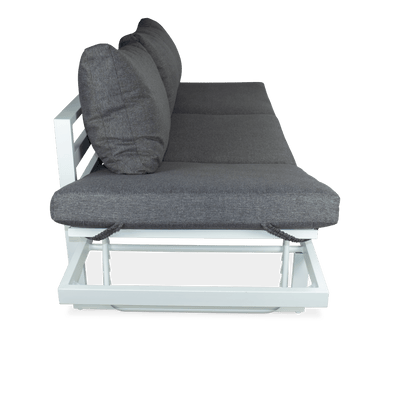 Milan 3 Seater with Dual Sunlounger Functionality in Arctic White Frame and Pebble Olefin Cushions