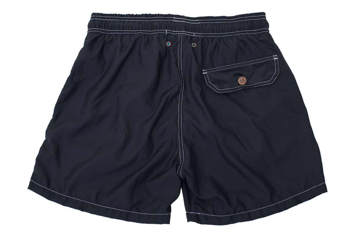 Black Solid Luxury Swimwear Trunk Retro Classics
