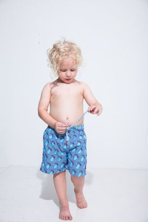 Checkered Lemons Kids Swim Trunk