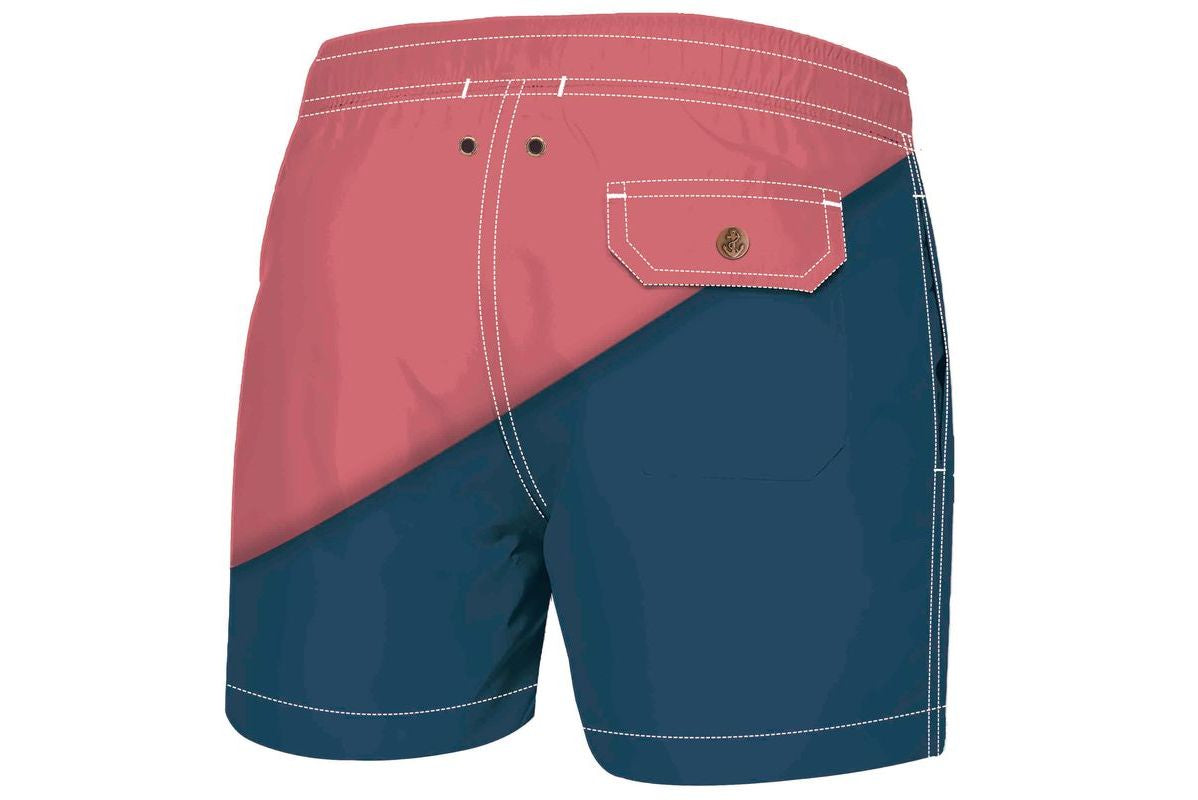 Navy Red Diago Luxury Swimwear Trunks for kids