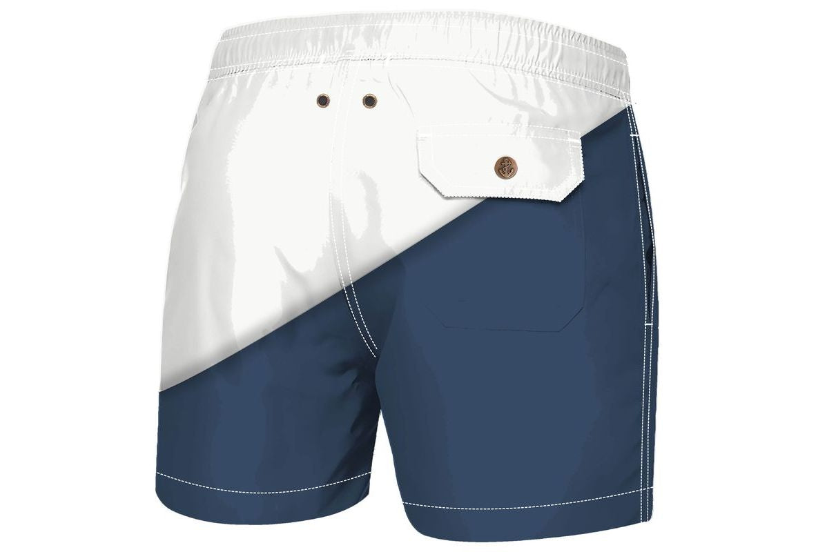 Navy White Diago Luxury Swimwear Trunks for kids
