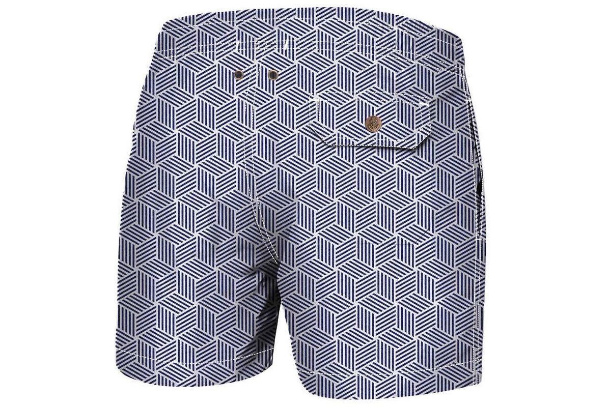 Woven Cubes Luxury Swimwear Trunk Geometric Blues