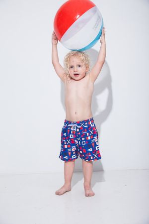 Nautical Flags Kids Swim Trunk