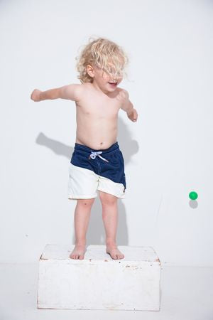 Navy White Diagonal Kids Swim Trunk