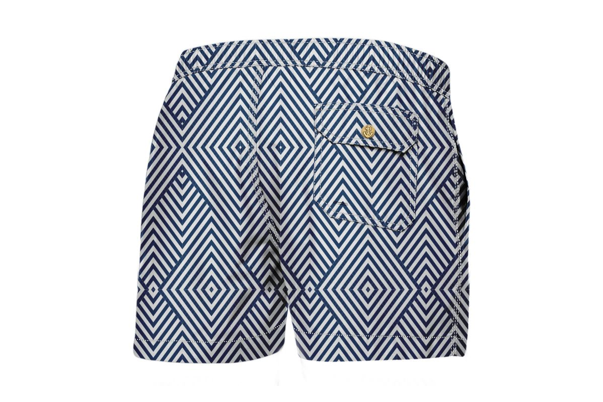 Navy Blue Arrows Luxury Swimwear Trunk Geometric Blues