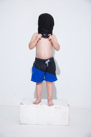 Royal Black Diagonal Kids Swim Trunk