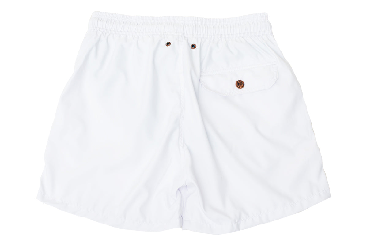 White Solid Luxury Swimwear Trunk Retro Classics