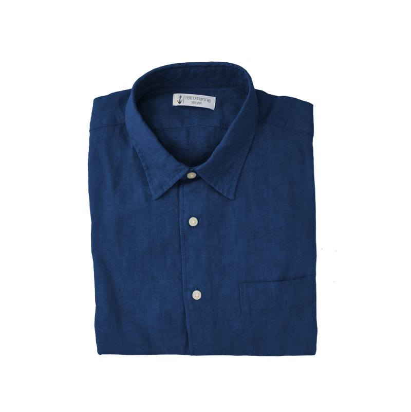 100% Linen Long Sleeve Shirt - Navy