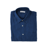 blue linen mens shirt - retromarine