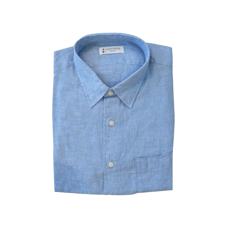 100% Linen Long Sleeve Shirt - Light Blue