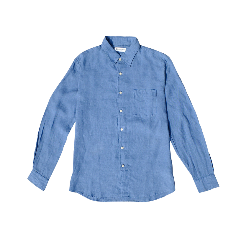 100% Linen Long Sleeve Shirt - Light Denim