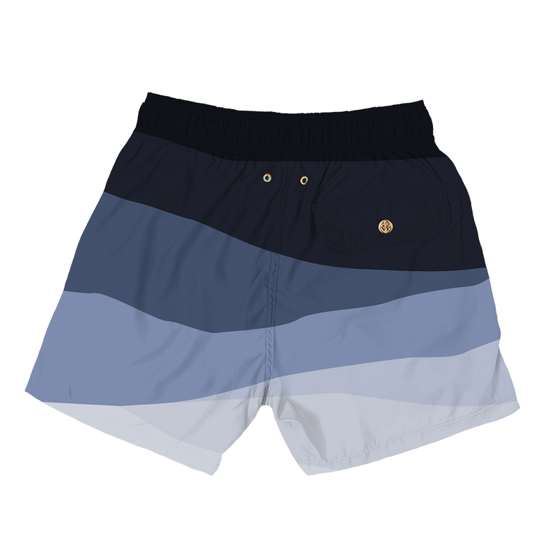 abstract waves blue - retromarine - mens swim trunks