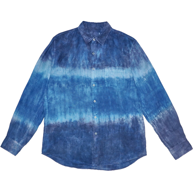 100% Linen Button Down Tie Dye Shirt - Blue Denim Dip