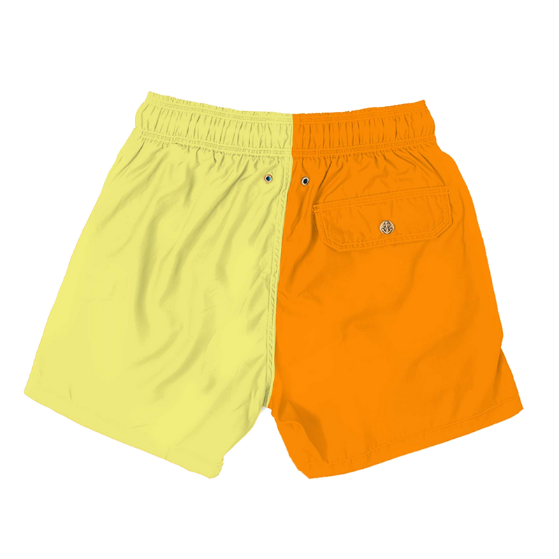 colorblock - orange yellow mens swimwear - retromarine