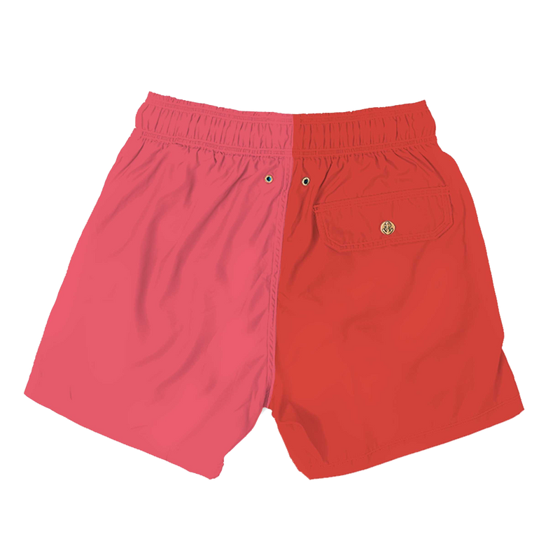 colorblock red pink - mens swimwear - retromarine