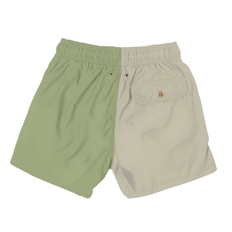 colorblock - sand pomee green mens swimwear - retromarine