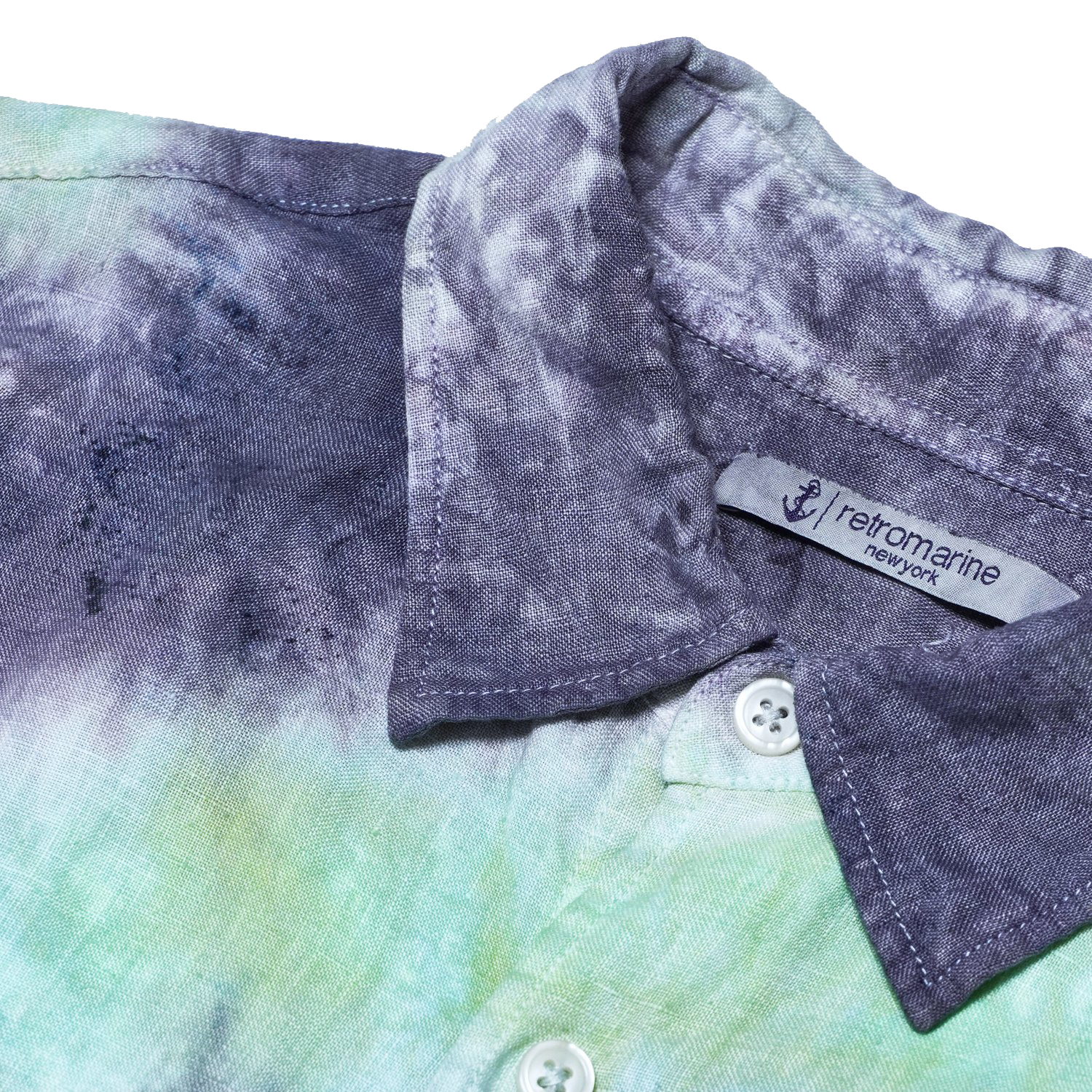 100% Linen Button Down Tie Dye Shirt - Green & Black Dip