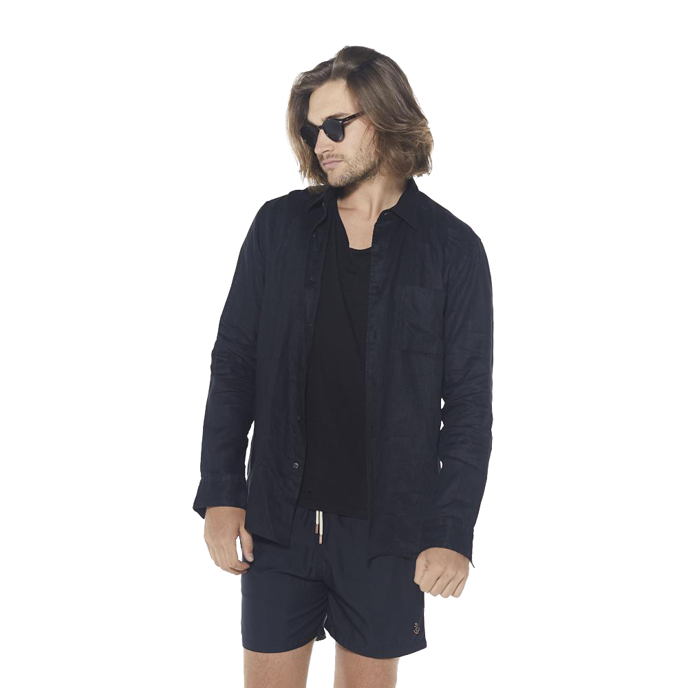 100% Linen Long Sleeve Shirt - Black