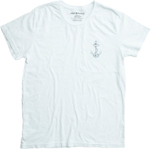 Luxury Crew in White-Small Logo