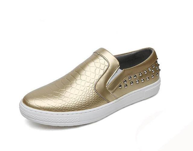 British Designer Men Trendy Gold silver black serpentine Casual platform Flats Shoes