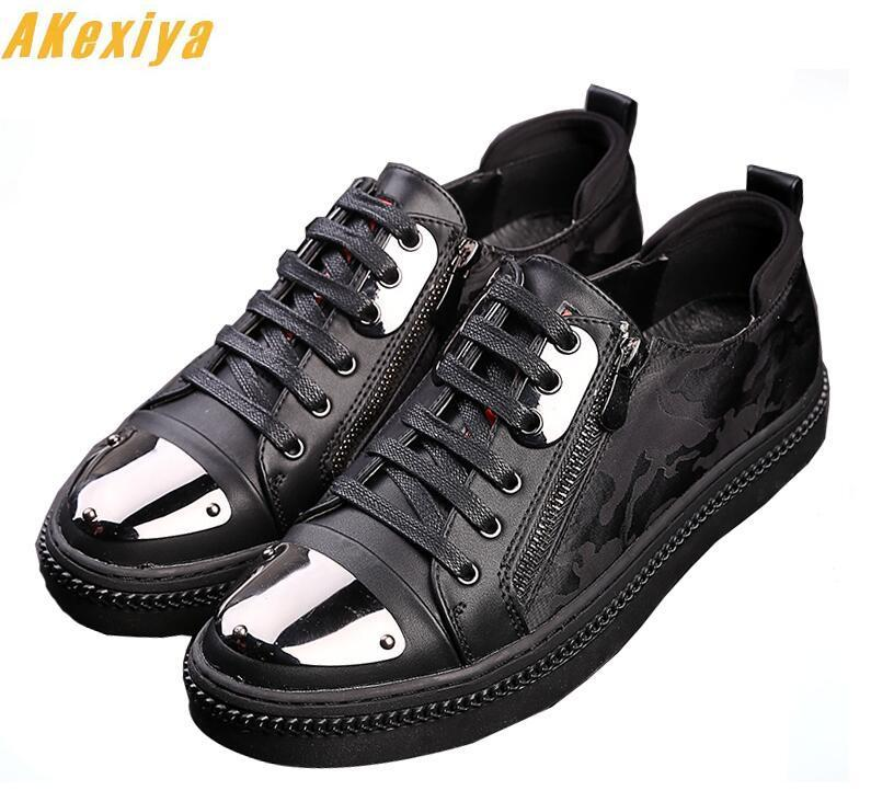British Designer Men Trendy Sheet metal lace-up zipper Casual platform Flats Shoes