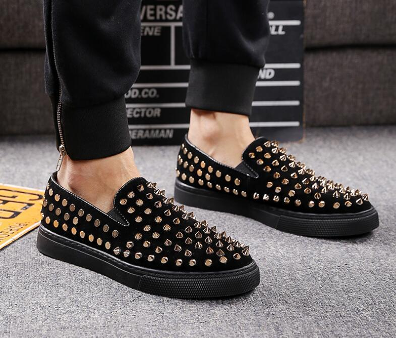 Fashion Designer Men Trendsetter Rivet Casual Slip-on platform Shoes