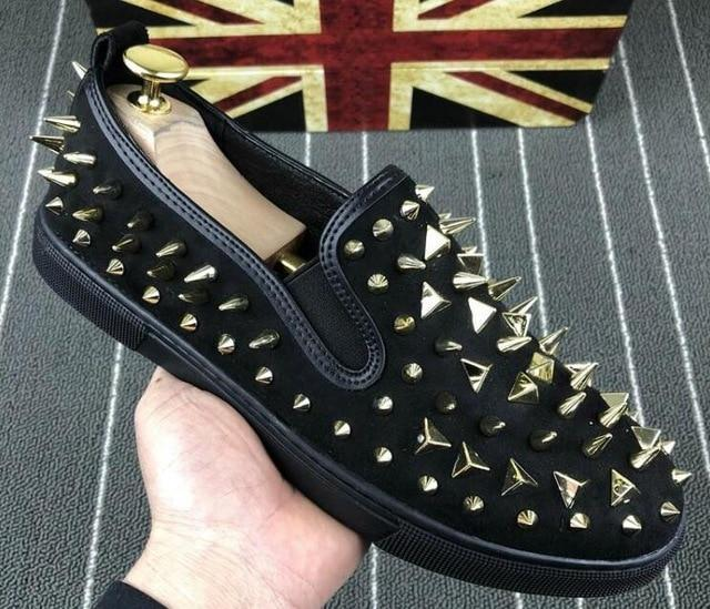 New Fashion Men luxury Designer  Studded Rivet Casual flats Shoes