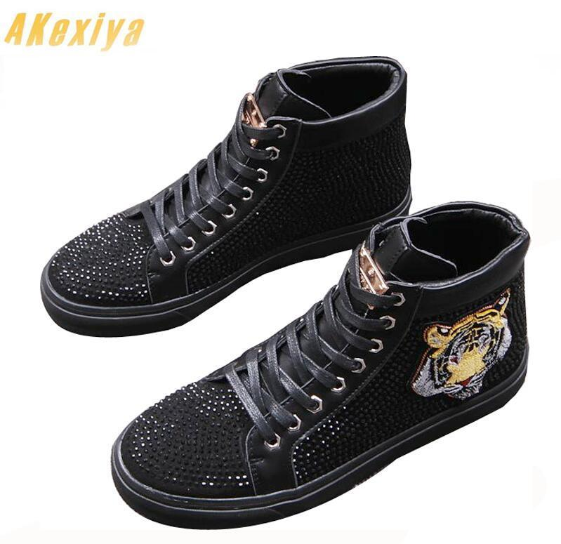 Trendy  Men's Designer Rhinestone embroidery Loafers