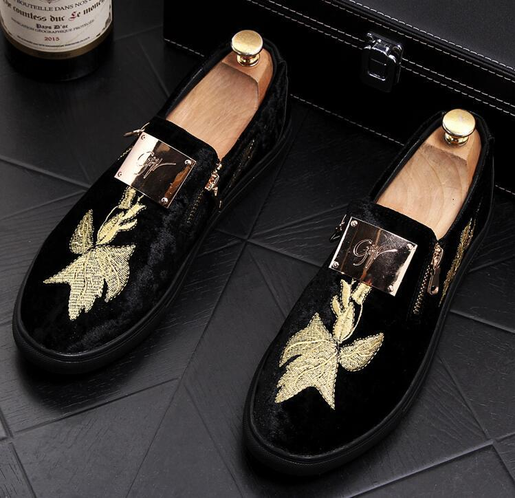 British designer Men Trendy Embroidery flower platform Casual flats Shoes