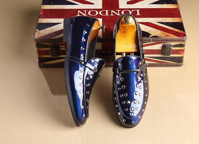 Fashion Men pointed rivet Leather Shoes