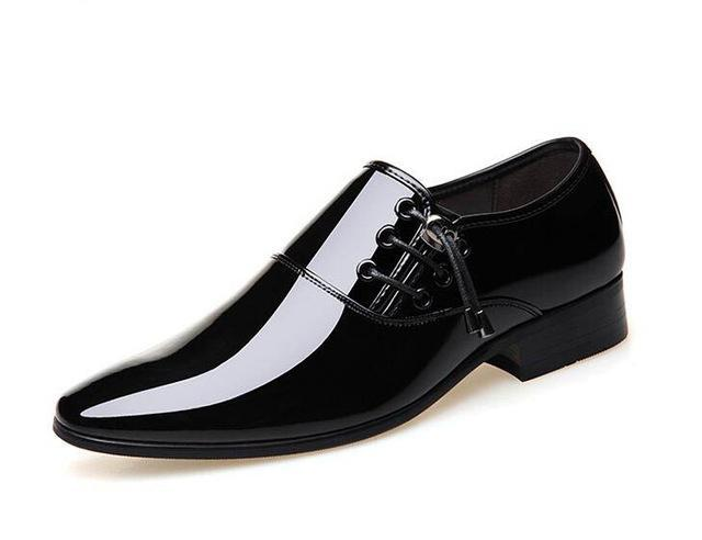 Men British trendy pointed gentlemen glitter Leather flats Shoes