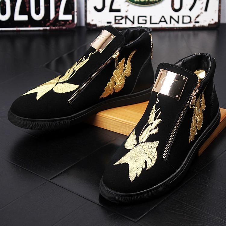 New Men designer trendsetter Embroidered flowers high tops Casual Flats Shoes