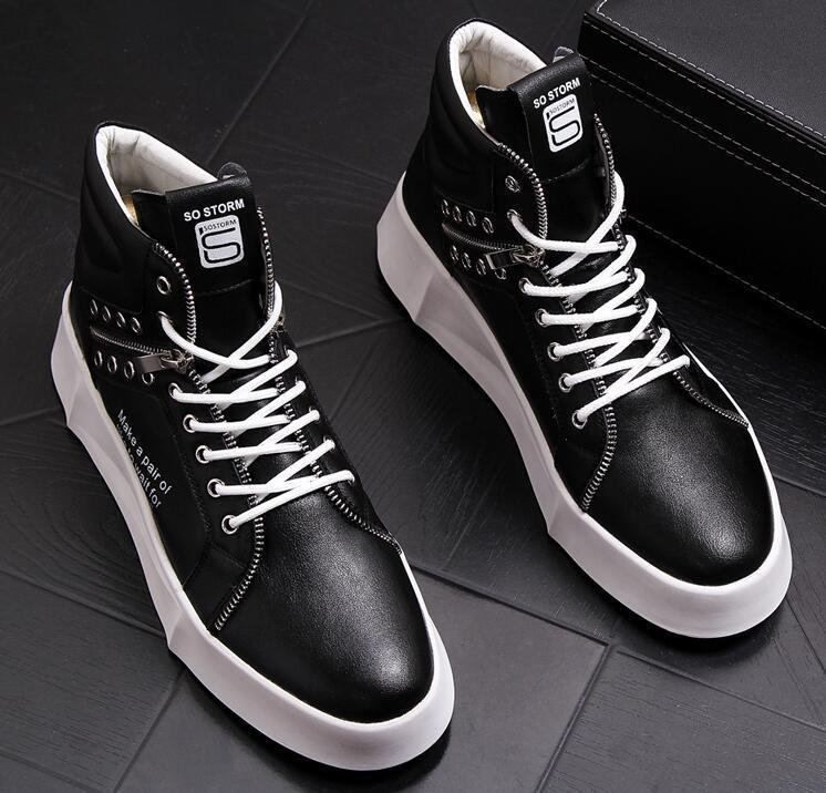 Street fashion lace-up Casual platform shoes  Male yellow black white Hip-hop punk high tops