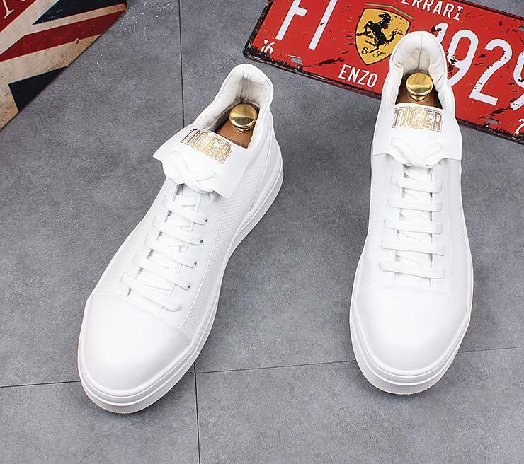 streets  Trendy Men's Designer yellow white high top Platform Casual Flats Shoes