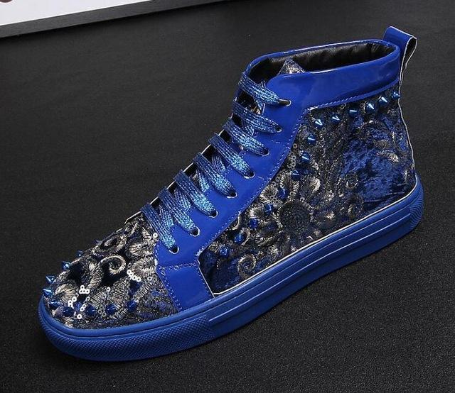British New Men designer nationality rivet paillette Casual Flats high tops Shoes